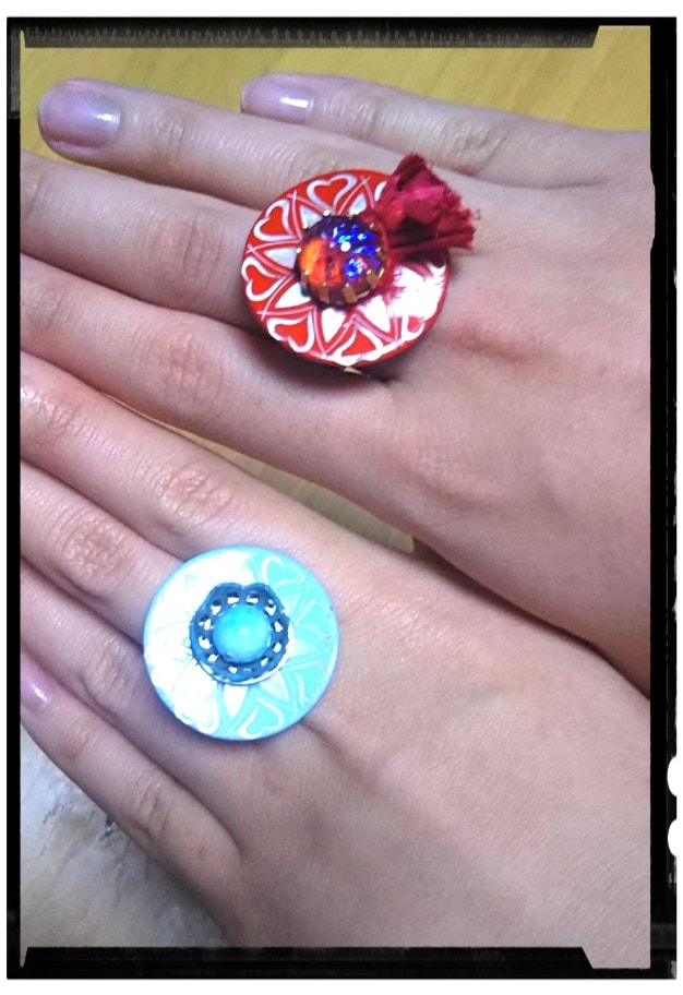 フレンチボタンのリング2種